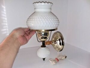 Vintage Hobnail Milk Glass Brass Wall Sconce Light