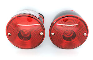 New Set Of Round Tail Lamp Light Pair For 1945 1975 Jeep Willys Cj3 Cj5 Cj6