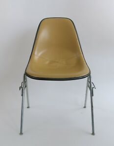 Vintage Eames Herman Miller Mid Century Shell Chair Upholstered Yellow Furniture