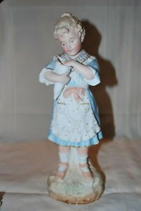 Antique German Bisque Large Girl Figurine Figure Statue Vase Heubach Beautiful