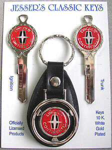 Red Lincoln Continental White Gold Deluxe Classic Key Set 1962 1963 1964 1965