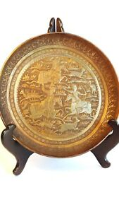 Stunning Antique Persian Copper Plate 1850 To 1899 Persia Signed