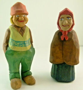 Vintage Folk Art Hand Carved Wood Old Man And Woman Sculptures Pair 1996
