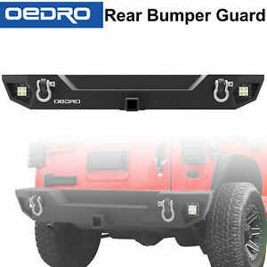 Textured Rear Bumper For 07 18 Jeep Wrangler Jk Hitch Receiver Led Lights