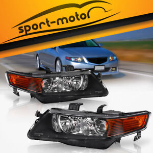 For 2004 2005 Acura Tsx Black Amber Projector Headlights Headlamps Assembly Pair
