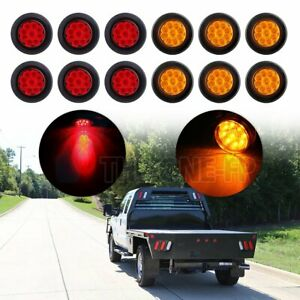 12x 2 Round Side Marker Universal Tail Light 9led Flower Petal Red Amber W Grom