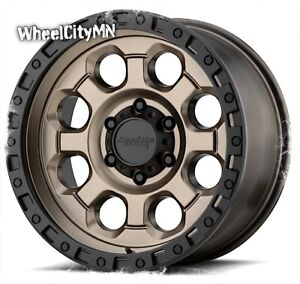 18 X9 Inch Bronze Black Lip Atx Ax201 Wheels Fits Ford F250 F350 Excursion 8x170