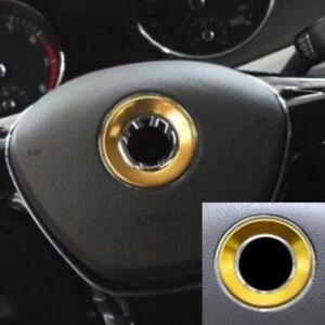 Gold Aluminum Alloy Steering Wheel Emblem Ring Trim For Vw Golf Jetta Passat 45