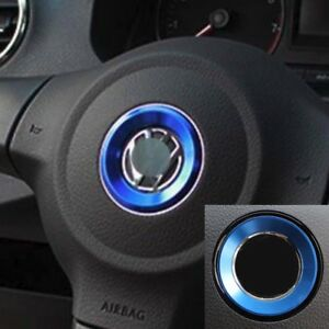 Blue Aluminum Alloy Steering Wheel Emblem Ring Trim For Vw Golf Jetta Passat 43