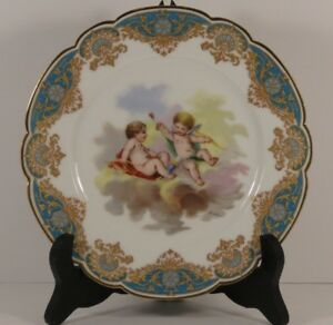 Rare Sevres Chateau De Versailles Cherubic Cabinet Plate From France