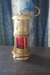 Marine Vintage Style Nautical Miner Boat Ship Lantern Oil Lamp Red Glass