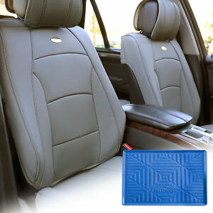 Car Leather Seat Cushion Covers Front Bucket Gray W Dash Mat For Auto Car