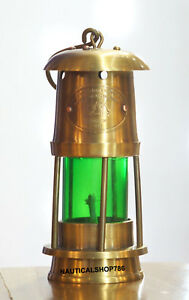 Antique Marine Style Nautical Miner Boat Ship Lantern Oil Lamp Green Glass