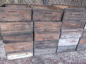 Lot Of 50 Vintage Old Wood Rustic Fruit Crate Display Box Antique Shelf Crates