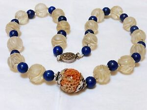 Vintage Chinese Carved Shu Rack Crystal Beads Lapis Beads Necklace Silver Clasp