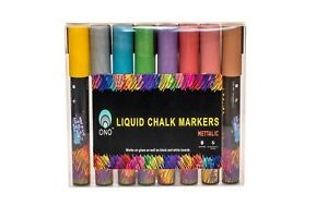 Liquid Chalk Markers Metallic For Glass Black White Boards 8 Colors New