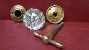 Vintage Silvered Centered Glass Brass Door Knob T Handle Turn W Rosettes 17