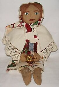 Christmas Doll Early American Handmade Primitive Cloth Doll Candy Collectible