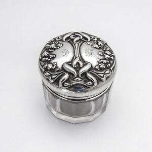 Art Nouveau Dresser Jar Sterling Silver William Kerr