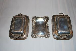 Antique Silver Butter Dishes Miniature Casserole Hallmarked England Lot Of 3