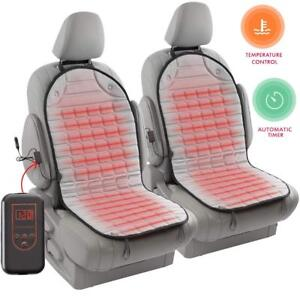 12v Heated Car Seat Cover Pad 2 Pack Gray Warm Cushion Upgraded Non flammable