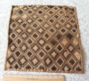 Antique African Congo Tribal Kuba Cloth Fabric Handwoven Ethnic Design 18 X17