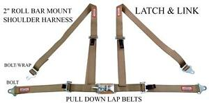 4 Point Street Car 2 Racing Seat Belt Latch Link Roll Bar Mount Saddle Tan