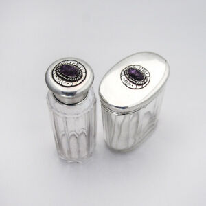 Dresser Jars Carved Amethyst Sterling Silver Wright And Davies London 1874
