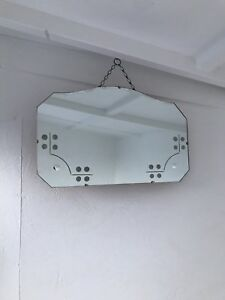 Frameless Mirror Vintage Art Deco Frameless Bevelled Edge Wall Mirror Patina