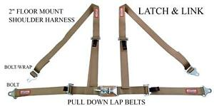 4 Point Street Car 2 Racing Seat Belt Latch Link Floor Mount Saddle Beige Tan