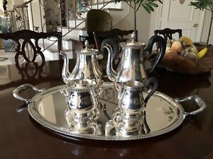 Christofle Malmaison Silver Plated Coffee And Tea Service With Tray
