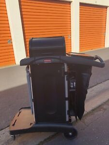 Rubbermaid Executive High Security Janitorial Cleaning Cart Fg9t7500bla 1861427