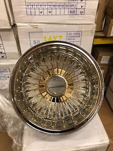 Set Of 4 New 14x7 72 Spoke Straight Lace Center Gold Wire Wheels Lowrider