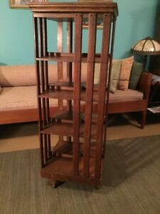 Antique Oak Rotating Book Case Revolving