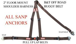 Off Road Seat Belt 3 Point All Snap In Racing 2 Buggy B t Y Harness Brown