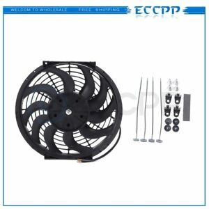 12 Inch New Black Universal Plastic Slim Radiator Cooling Fan 12v Mount Kit