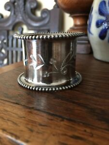 Vintage Antique Silver Plate Napkin Ring Silverplate Engraved Design 1800s