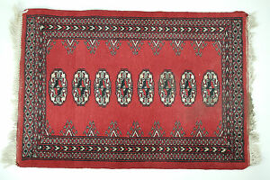 Bokhara Prayer Rug 3x2 Vintage Handmade Oriental Red Cotton Carpet