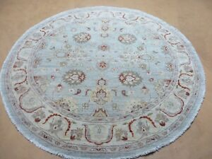 5 2 Vintage Round Hand Made Indo Persian Mahal Wool Rug Veg Dyes Nice Teal