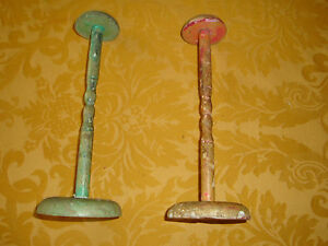 Two Vintage Antique Hat Stands Rack Display 9 3 4 Tall Faux Painted Wood