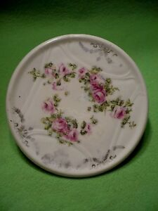 Antique Prussian Porcelain Teapot Stand With Colorful Pink Roses
