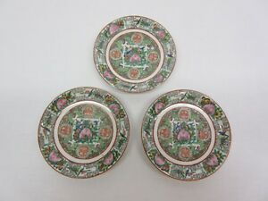 Three Chinese Rose Medallion Porcelain Saucers Excellent Condition