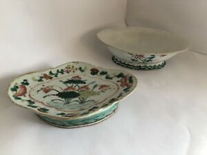 Pair Of Antique 19th Century Chinese Export Rose Porcelain Footed Dishes