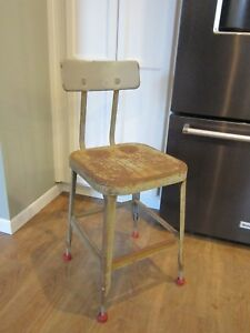 Vtg Metal Lyon Industrial Factory Stool Rustic Drafting Chair Warehouse Shop