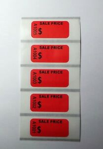 100 Self Adhesive Garage Store Sale Price Tags Label Sticker Consecutive Number