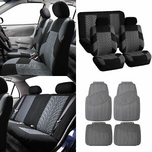 Suv Car Seat Covers Gray Rubber Floor Mats Combo Gray