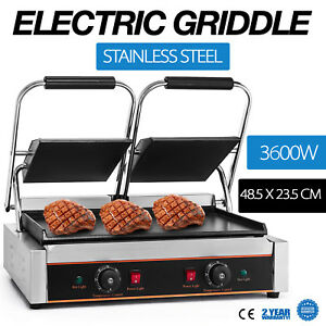 3600w Electric Twin Contact Grill Griddle Commercial Toaster Non stick Grooved