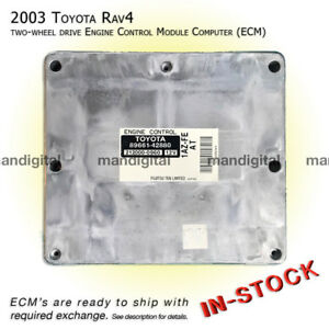 03 Toyota Rav4 Engine Computer 2wd Ecm Ecu Exchange Service 89661 42880