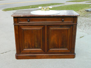 Walnut Victorian Buffet With Sink Conversion Brown Marble