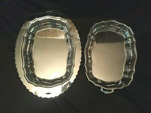 Vintage Vegetable Trays Platters Dishes Footed Scroll Handles Silver Plate 2 Pc